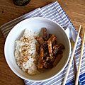 Porc mariné et riz au sésame