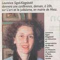 Laurence sigal-klagsbald : conférence à l'hôtel de ville de metz (19/10/10)