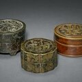 Three arabic inscribed bronze covered boxes, ming dynasty