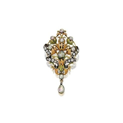Gold, Silver, Natural Pearl, Enamel and Diamond Brooch, circa 1890