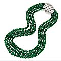 Platinum, emerald bead and diamond necklace, david webb