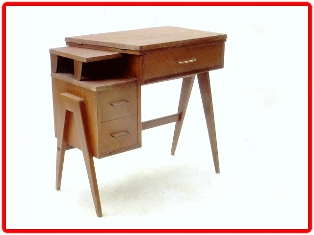 bureau vintage annees 1960 1970 pieds compas vendu. Black Bedroom Furniture Sets. Home Design Ideas