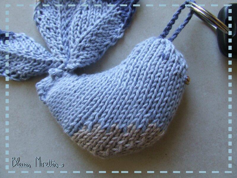 Oiseau porte clé tricot 02