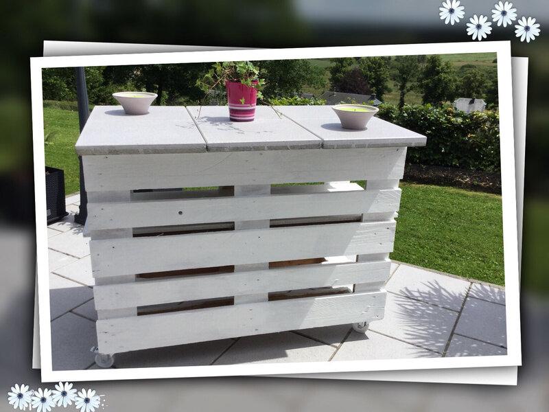 Fabriquer un bar mobile de terrasse ou un mange debout for Fabriquer un bar exterieur