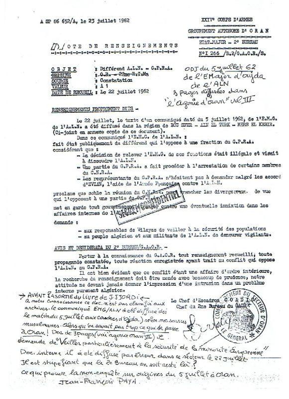 Document Aln Du 5 Juillet 1962 Etudes Coloniales