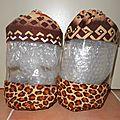 Sac de rangement transparent petit modele tissu africain, african fabric clear storage bag