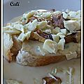 Bruschetta roquefort & chocolat blanc - bruschetta roquefort & chocolate blanco