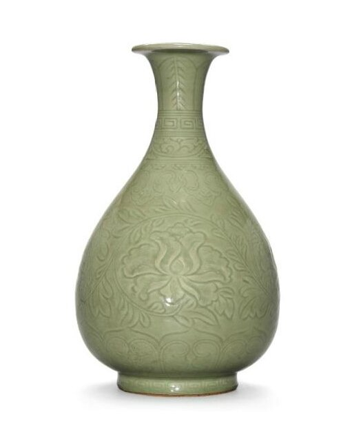 A carved Longquan celadon pear-shaped vase, yuhuchunping, Ming dynasty, 14th-15th century