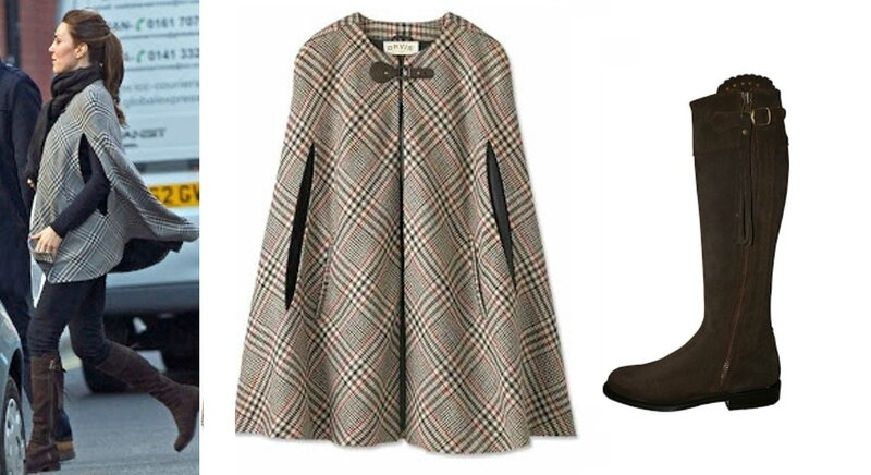 CATHERiNE-DUCHESS-OF-CAMBRiDGEZARA-PLAiD-CAPE-COAT-REALLY-WiLD-SEViLLE-SUEDE-BOOTS