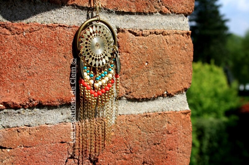 sautoir collier azteque indian - attrape reve - plume - perles - laiton - dreamcatcher- necklace