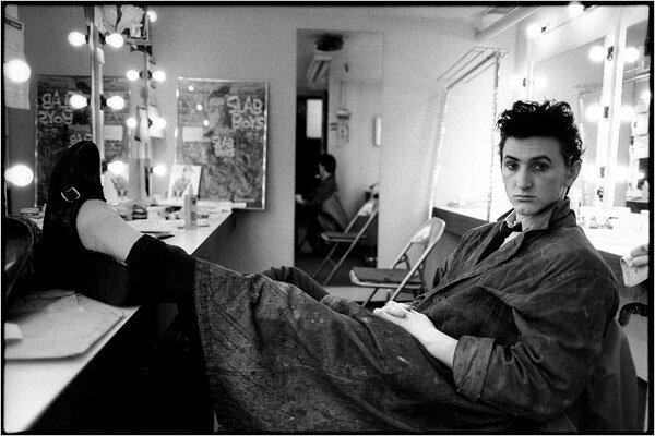 Sean Penn in his dressing room for the Broadway production of Slab Boys in 1983