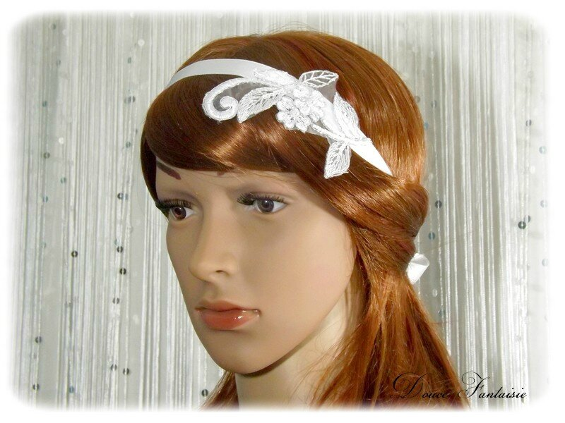 Headband mariage dentelle satin blanc