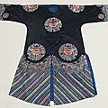 A chinese blue ground silk informal robe with embroidered floral roundels, 20th century