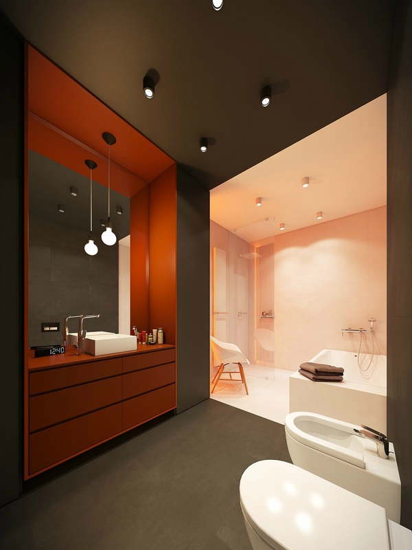burnt-orange-boudoir-bathroom-single-hanging-light