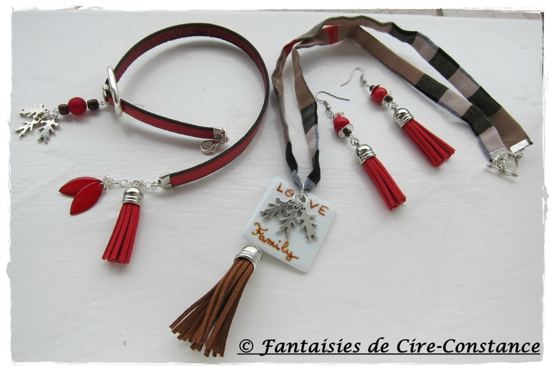 ensemble collier Love Family bracelet cuir rouge Love Family BO Aude rouge