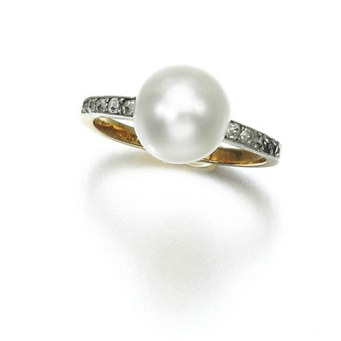 Natural pearl and diamond ring, early 20th century