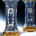 Pair of large ormolu mounted blue and white vases. vases: china, kangxi period, 1662 – 1722. mounting: france, 19th century