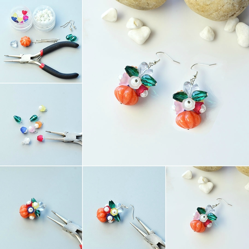 PandaHall-Tutorial-on-Pumpkin-and-Flower-Cluster-Earrings-for-Halloween