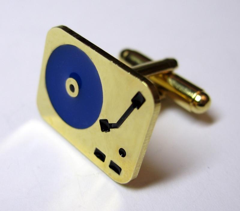 platine vinyle bleu et or-