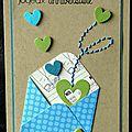 carte d'anniversaire avec enveloppe à pois et envolée de coeurs