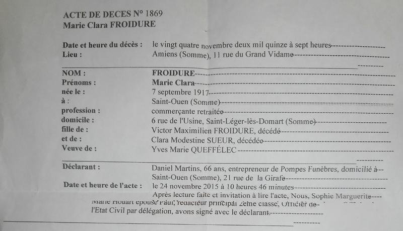 2015 acte de décès de Marie Clara Froidure