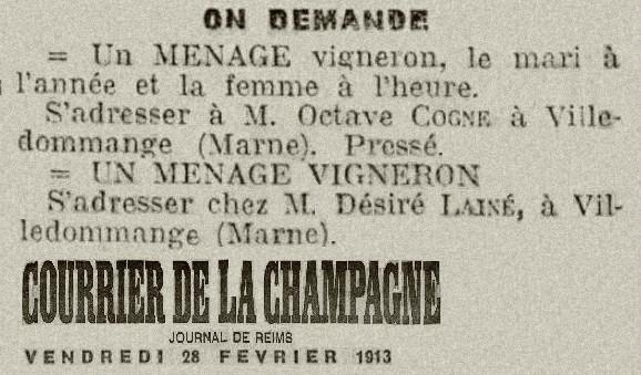 1913 COGNE LAINE
