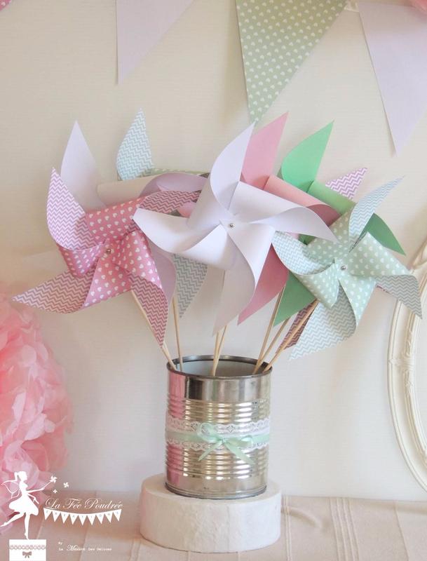 moulin a vent guirlande fanion boite dragees bapteme rose vert mint3