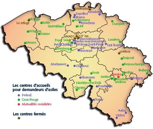 Carte des centres ouverts et fermes en Belgique