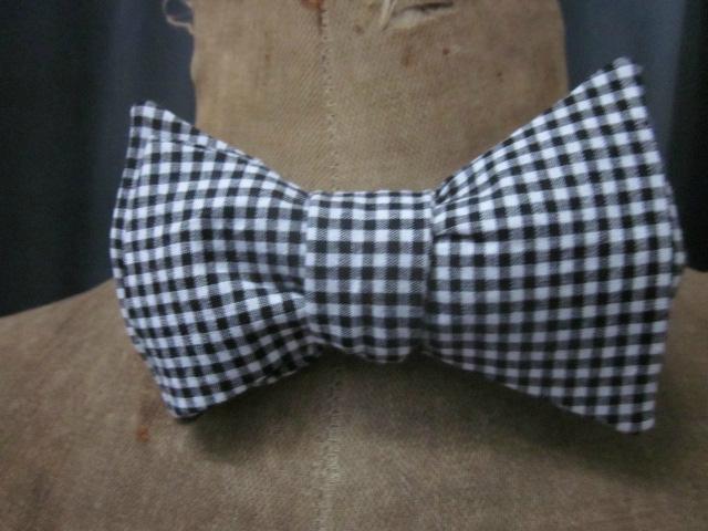 Véritable NOEUD PAPillon en coton vichy noir et blanc (2)
