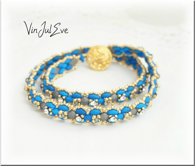 bracelet savigny 2 rangs turquoise gris or