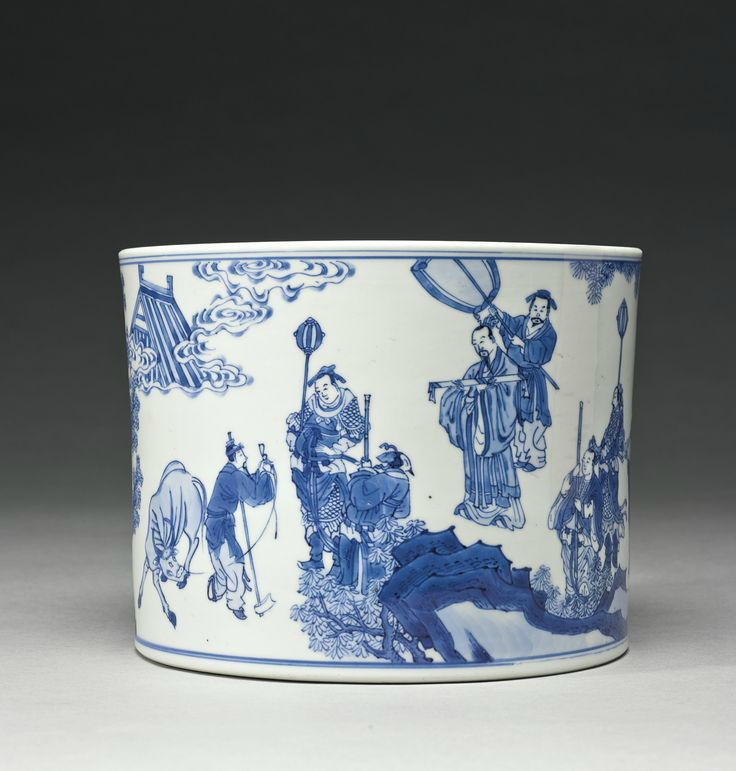 A blue and white brushpot (bitong), Qing dynasty, Kangxi period