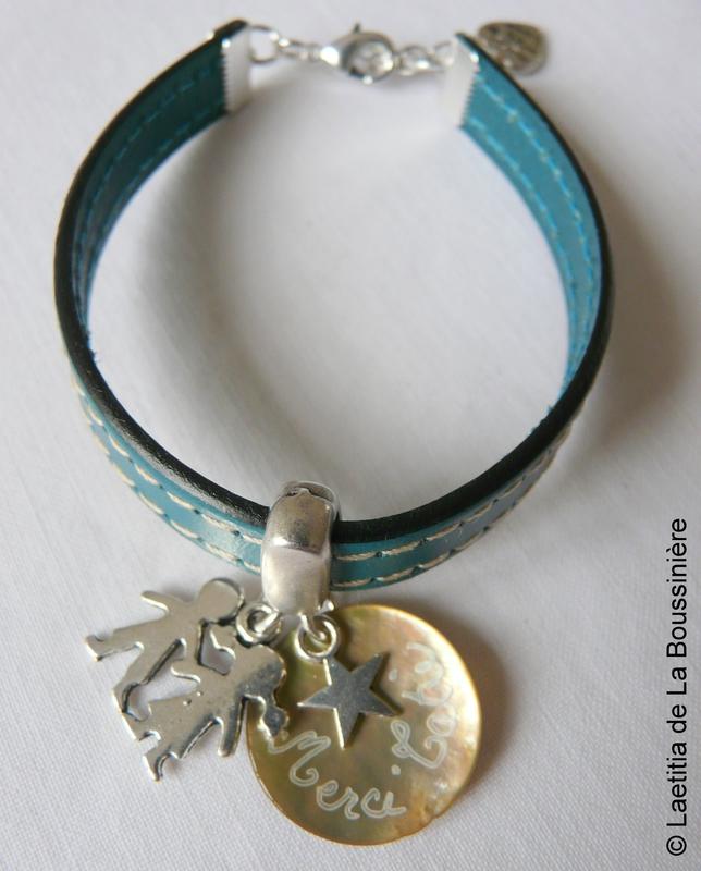 Bracelet de Nounou (sur cuir turquoise)