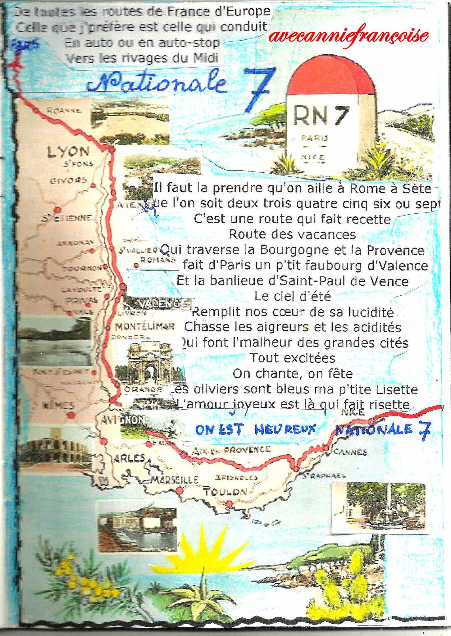 carte de france route nationale 7