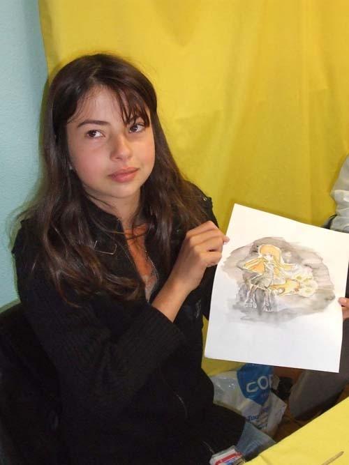 Marylou fière de son oeuvre