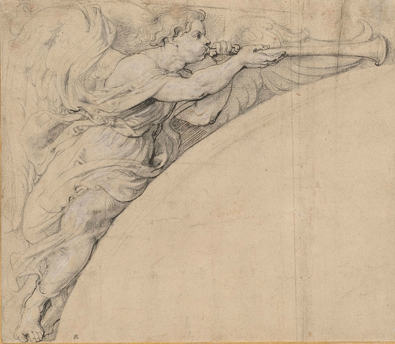 Angel Blowing a Trumpet, Facing Right