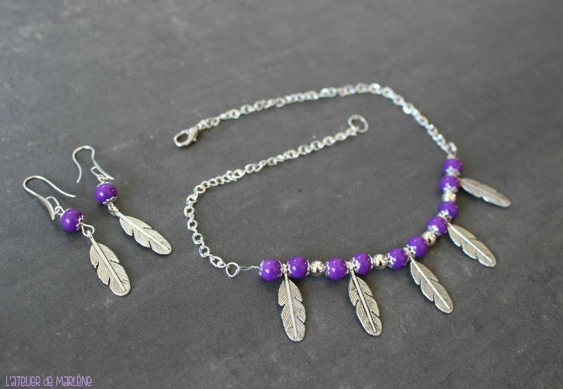 parure plume violette