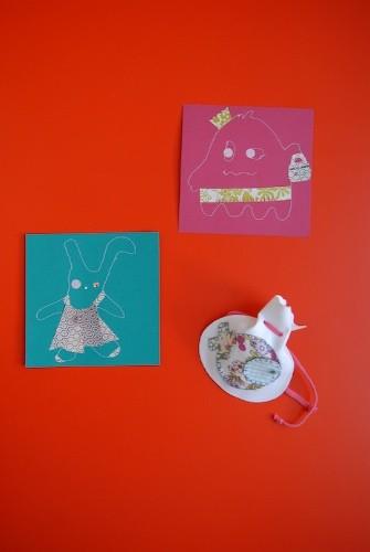 cartes à voeux cousues et mini-purse