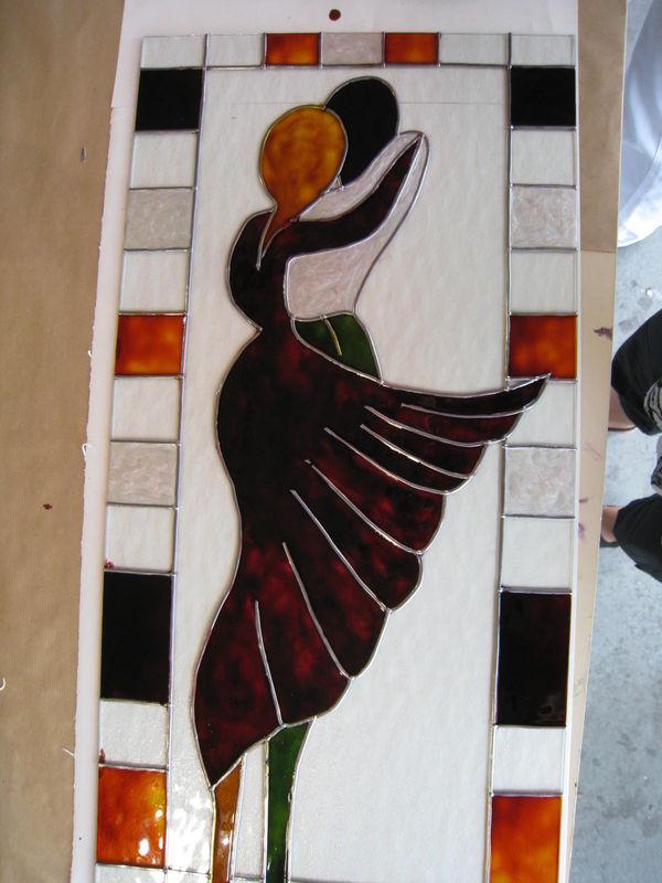 Peinture sur verre faux vitrail l 39 atelier de dolor s for Faux vitrail sur miroir