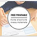 { free printable } exercice niveau maternelle