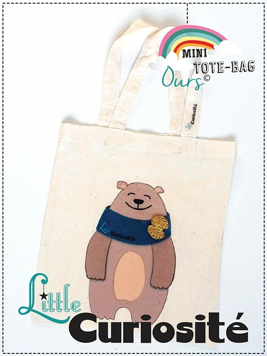 Sac MiniTote Bag Enfant - Coton - Bear - Ours + Noeud or crochet - Fait main © Little Curiosité