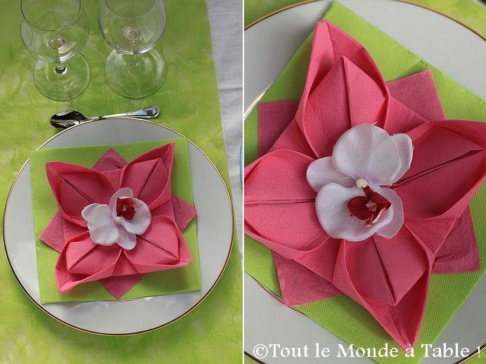 Pliage De Serviette En Fleur De Lotus Tout Le Monde à Table