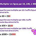 Activité tbi-tni-vpi- calculs - multiplication en ligne par 10, 100, 1000