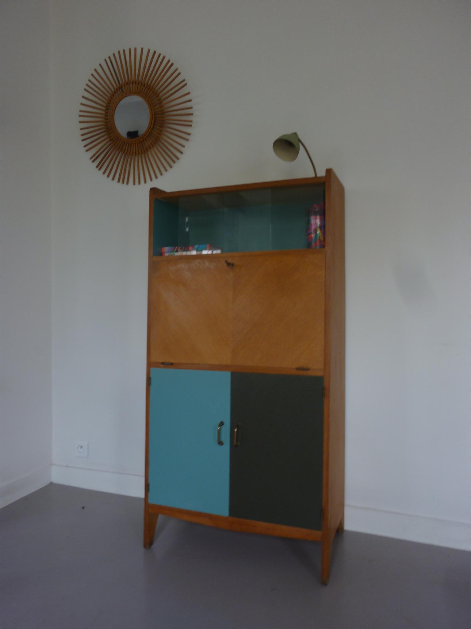 Secr taire ann es 60 bulle meubles vintage pataluna for Meuble bureau 60 x 60