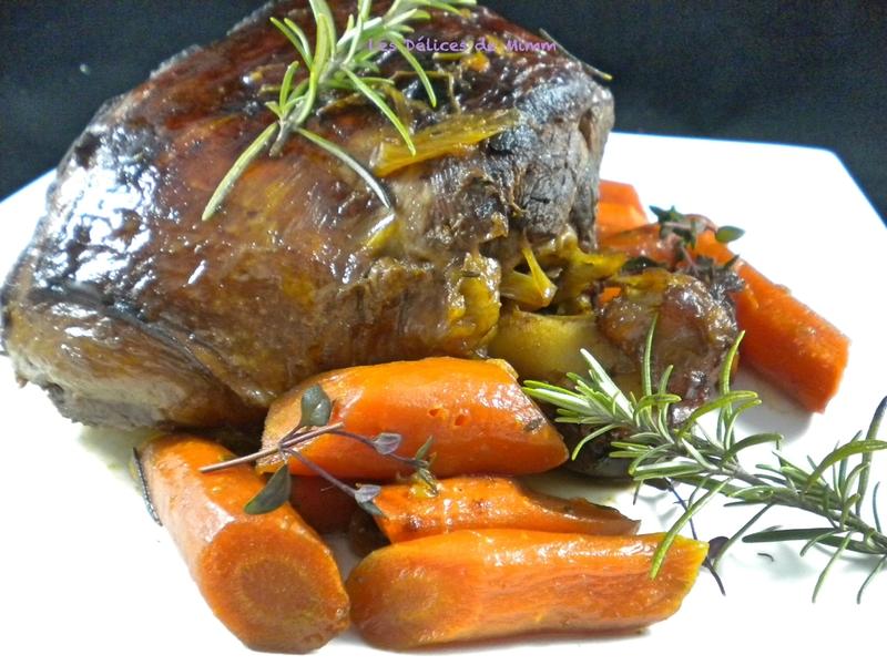 Gigot d'agneau confit au miel, carottes et romarin 3