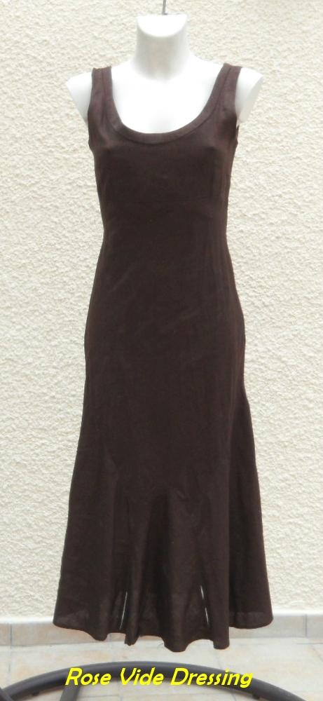 0a7b231add7 Robe Sans Manches Marron En Lin Taille 38 Camaieu - Rose Vide Dressing
