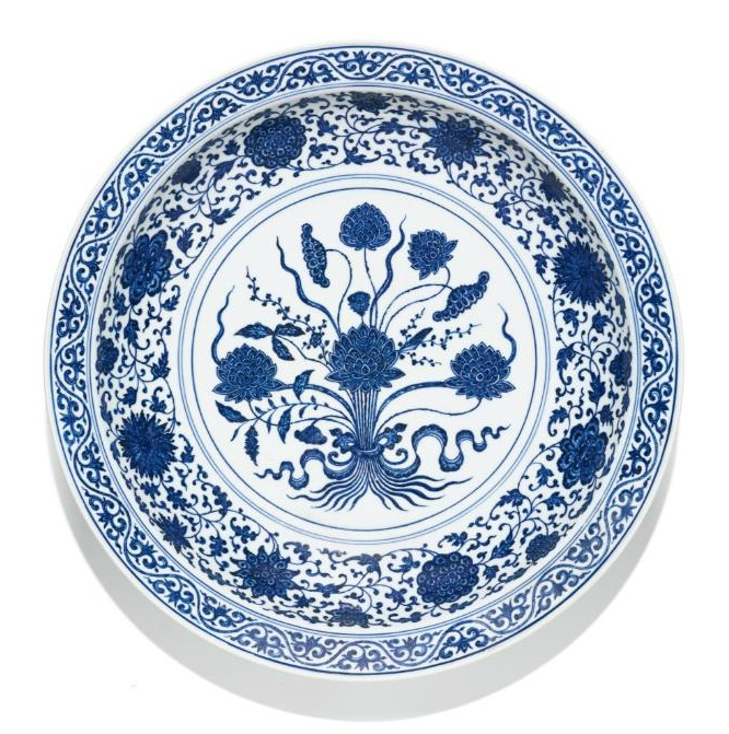 A Large Blue And White 'Lotus Bouquet' Dish, Qianlong Seal Mark And Period