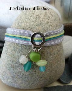 P1090853 bracelet d'été coton gris, vert et bleu turquoise et perles verre