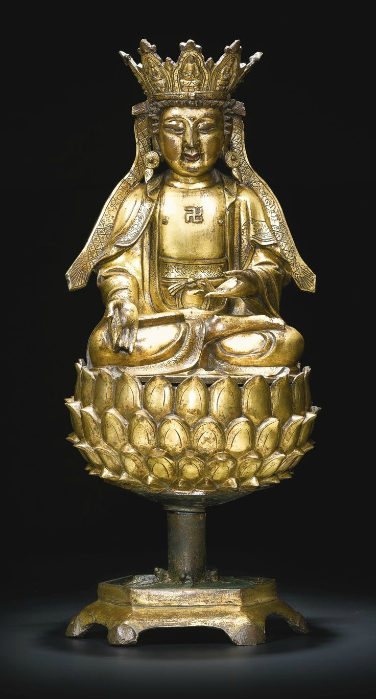 A gilt-bronze figure of Guanyin, Ming dynasty, 16th century