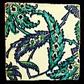 Iznik tile with blues and greens wtith arabesque design and saz leafs. turkey, 17th century ad