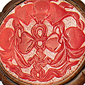 A red overlay glass inset hardwood ruyi sceptre, 20th century (detail)